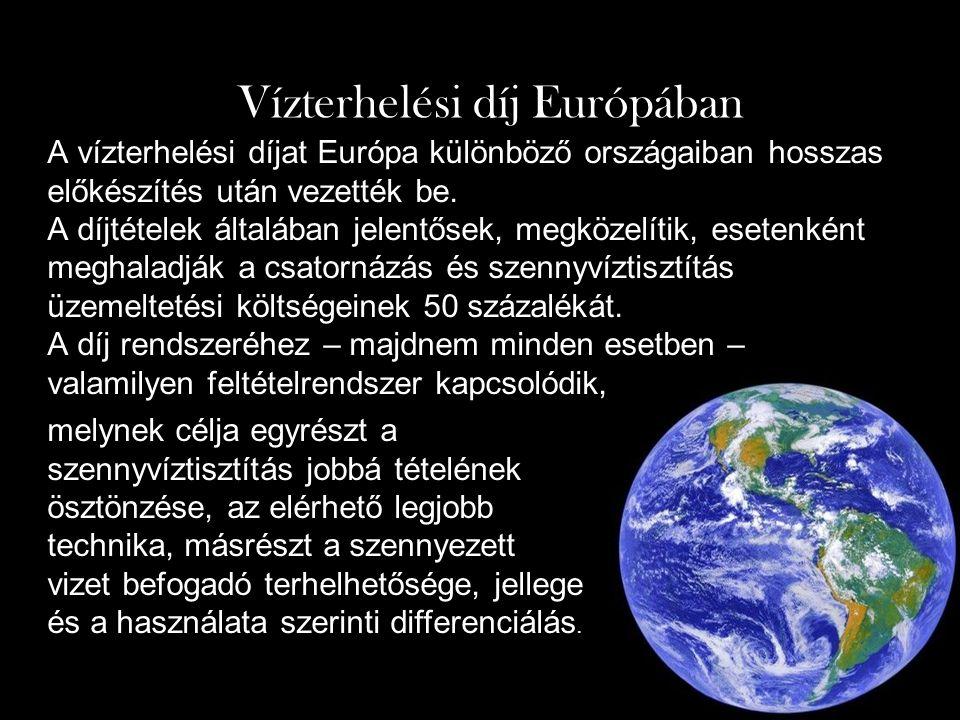A vízterhelési díjat Európa különböző országaiban hosszas előkészítés után vezették be.