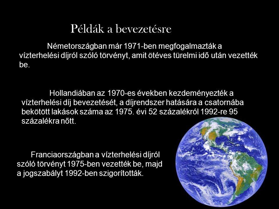 Németországban már 1971-ben megfogalmazták a vízterhelési díjról szóló törvényt, amit ötéves türelmi idő után vezették be.
