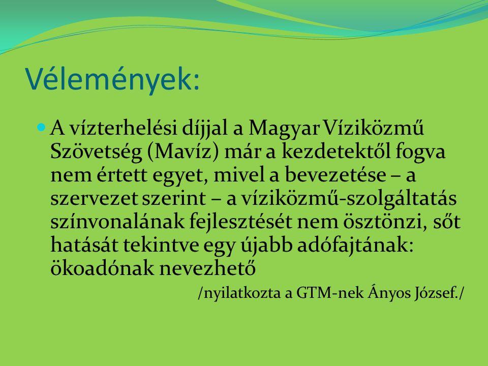 Vélemények: A vízterhelési díjjal a Magyar Víziközmű Szövetség (Mavíz) már a kezdetektől fogva nem értett egyet, mivel a bevezetése – a szervezet szerint – a víziközmű-szolgáltatás színvonalának fejlesztését nem ösztönzi, sőt hatását tekintve egy újabb adófajtának: ökoadónak nevezhető /nyilatkozta a GTM-nek Ányos József./