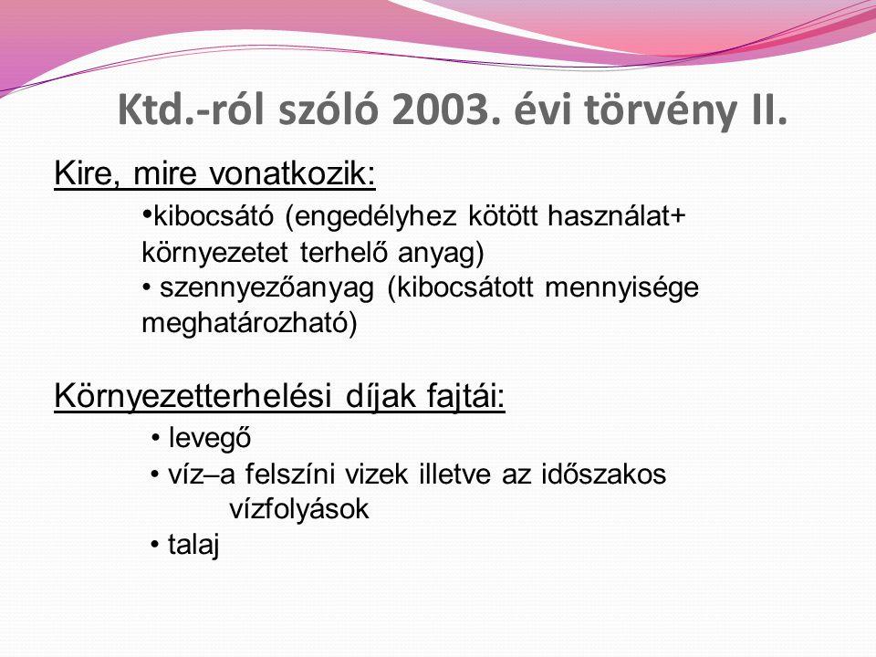 Ktd.-ról szóló 2003. évi törvény II.