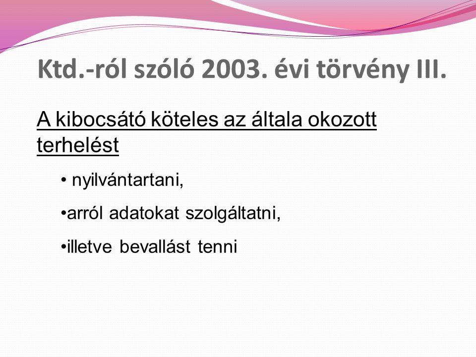 Ktd.-ról szóló 2003.évi törvény III.