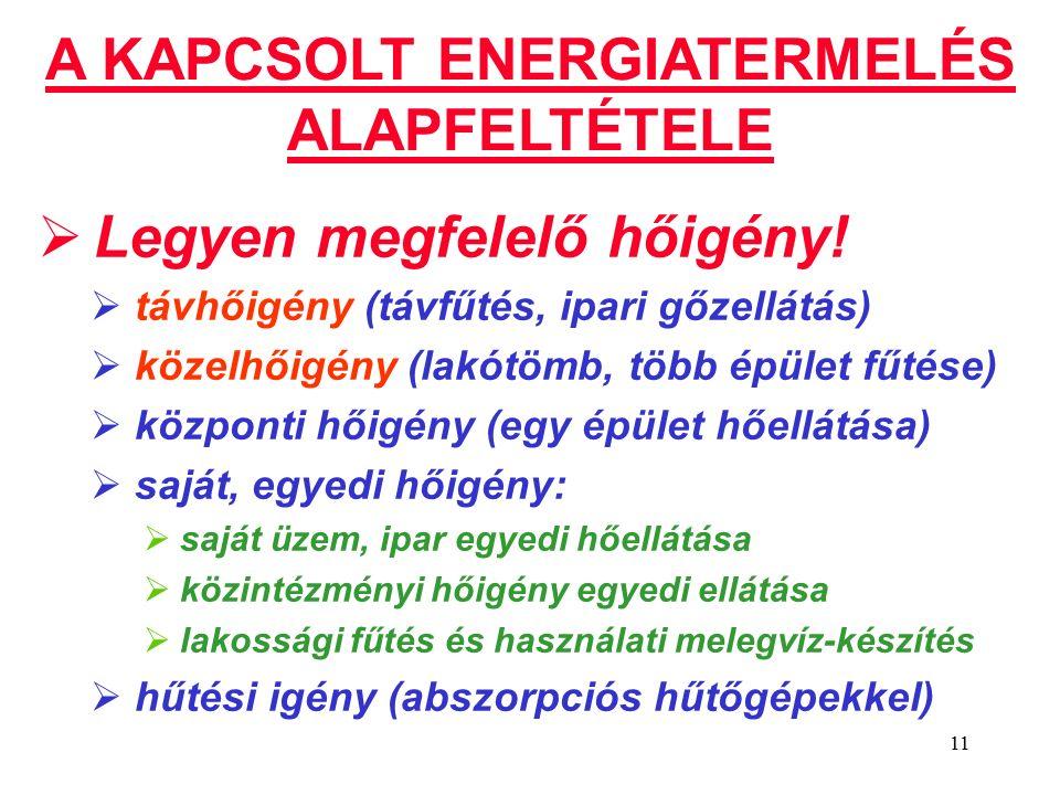 11 A KAPCSOLT ENERGIATERMELÉS ALAPFELTÉTELE  Legyen megfelelő hőigény.
