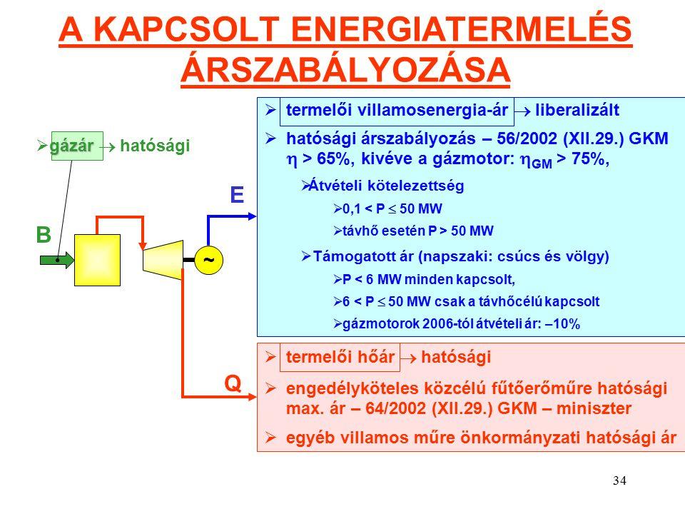 34 A KAPCSOLT ENERGIATERMELÉS ÁRSZABÁLYOZÁSA ~ E Q  termelői villamosenergia-ár  liberalizált  hatósági árszabályozás – 56/2002 (XII.29.) GKM  > 65%, kivéve a gázmotor:  GM > 75%,  Átvételi kötelezettség  0,1 < P  50 MW  távhő esetén P > 50 MW  Támogatott ár (napszaki: csúcs és völgy)  P < 6 MW minden kapcsolt,  6 < P  50 MW csak a távhőcélú kapcsolt  gázmotorok 2006-tól átvételi ár: –10% B  termelői hőár  hatósági  engedélyköteles közcélú fűtőerőműre hatósági max.