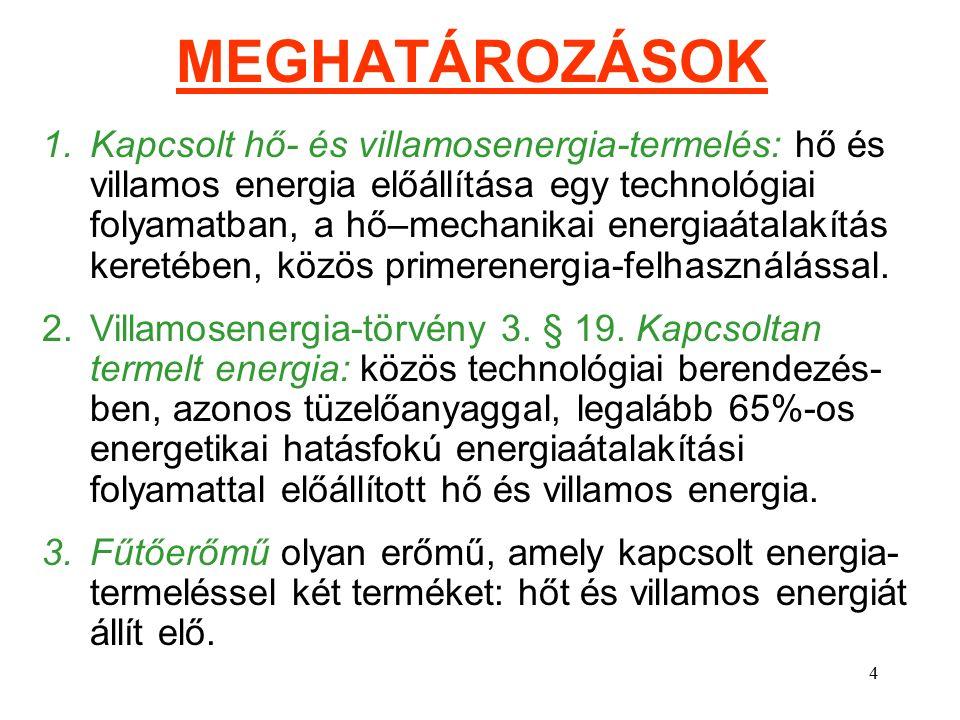 4 MEGHATÁROZÁSOK 1.Kapcsolt hő- és villamosenergia-termelés: hő és villamos energia előállítása egy technológiai folyamatban, a hő–mechanikai energiaátalakítás keretében, közös primerenergia-felhasználással.