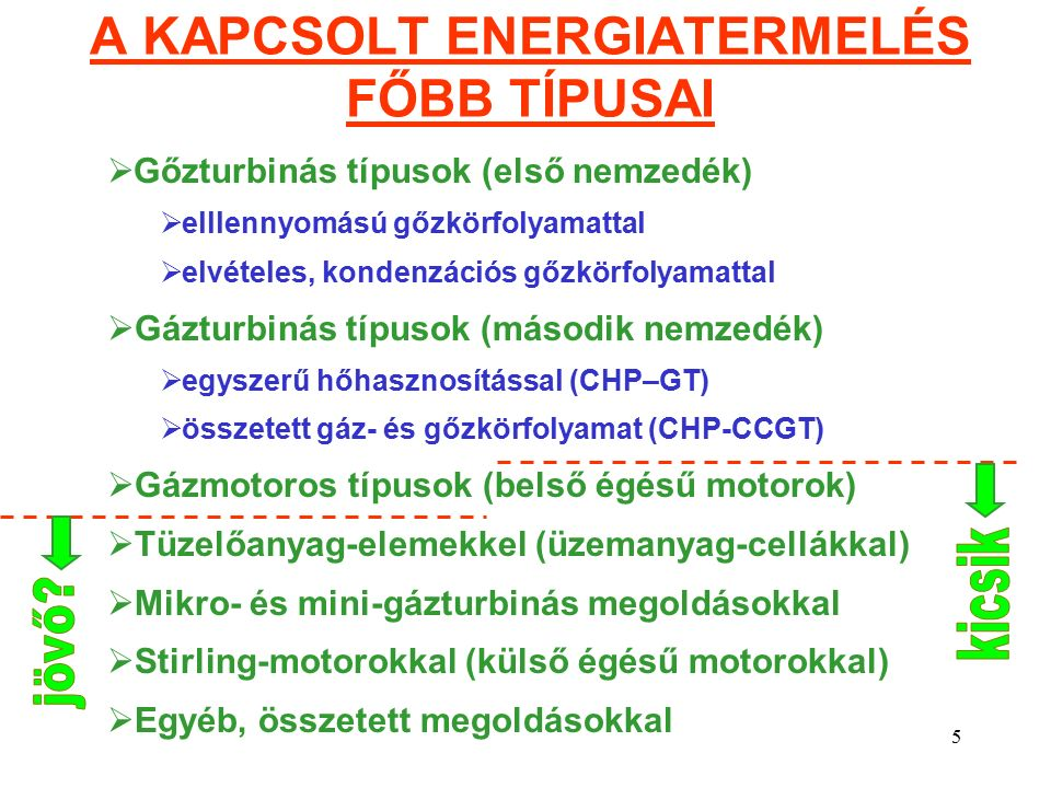 5 A KAPCSOLT ENERGIATERMELÉS FŐBB TÍPUSAI  Gőzturbinás típusok (első nemzedék)  elllennyomású gőzkörfolyamattal  elvételes, kondenzációs gőzkörfolyamattal  Gázturbinás típusok (második nemzedék)  egyszerű hőhasznosítással (CHP–GT)  összetett gáz- és gőzkörfolyamat (CHP-CCGT)  Gázmotoros típusok (belső égésű motorok)  Tüzelőanyag-elemekkel (üzemanyag-cellákkal)  Mikro- és mini-gázturbinás megoldásokkal  Stirling-motorokkal (külső égésű motorokkal)  Egyéb, összetett megoldásokkal