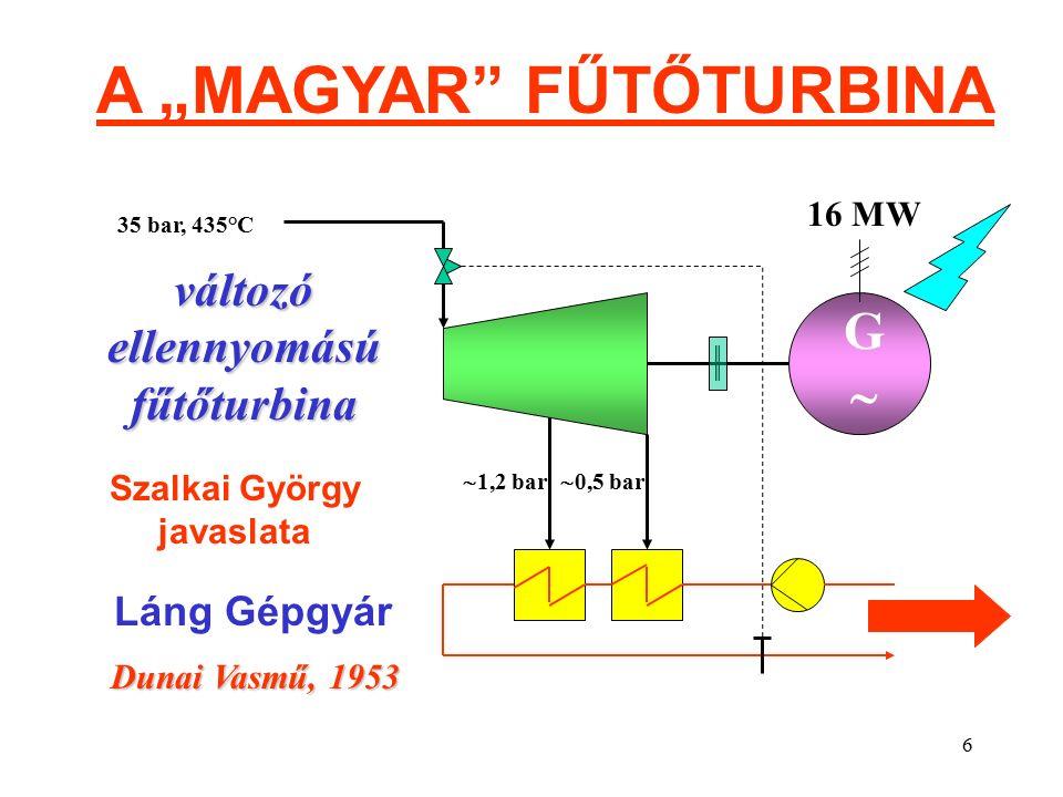"""6 A """"MAGYAR FŰTŐTURBINA GG 16 MW 35 bar, 435°C  0,5 bar  1,2 bar változó ellennyomású fűtőturbina Dunai Vasmű, 1953 Láng Gépgyár Szalkai György javaslata"""