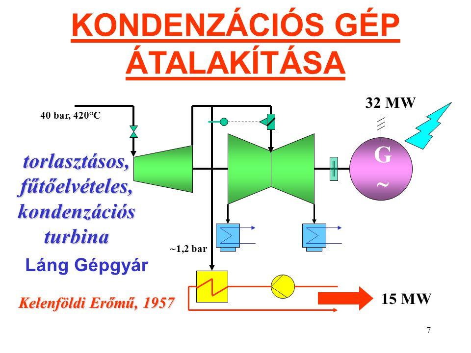 7 KONDENZÁCIÓS GÉP ÁTALAKÍTÁSA GG 40 bar, 420°C torlasztásos, fűtőelvételes, kondenzációs turbina Kelenföldi Erőmű, 1957 32 MW 15 MW  1,2 bar Láng Gépgyár