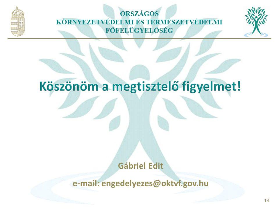 ORSZÁGOS KÖRNYEZETVÉDELMI ÉS TERMÉSZETVÉDELMI FŐFELÜGYELŐSÉG 13 Gábriel Edit e-mail: engedelyezes@oktvf.gov.hu