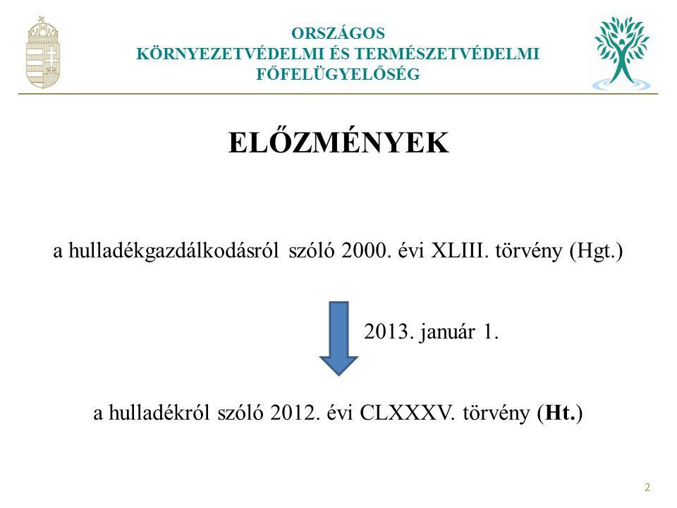 ORSZÁGOS KÖRNYEZETVÉDELMI ÉS TERMÉSZETVÉDELMI FŐFELÜGYELŐSÉG 2 ELŐZMÉNYEK a hulladékgazdálkodásról szóló 2000. évi XLIII. törvény (Hgt.) 2013. január