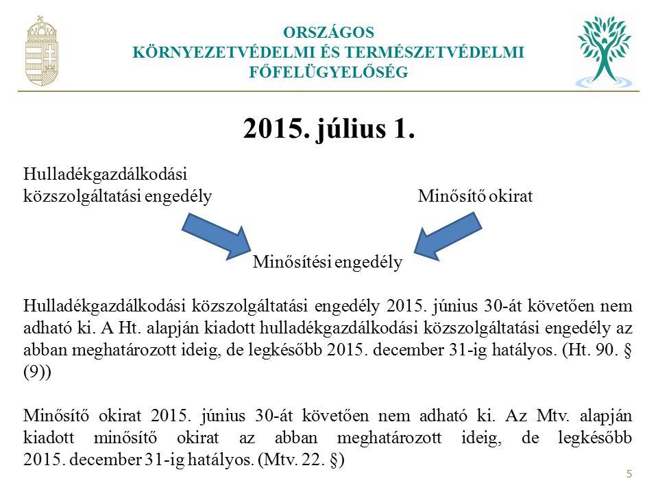 ORSZÁGOS KÖRNYEZETVÉDELMI ÉS TERMÉSZETVÉDELMI FŐFELÜGYELŐSÉG 5 2015. július 1. Hulladékgazdálkodási közszolgáltatási engedély Minősítő okirat Minősíté