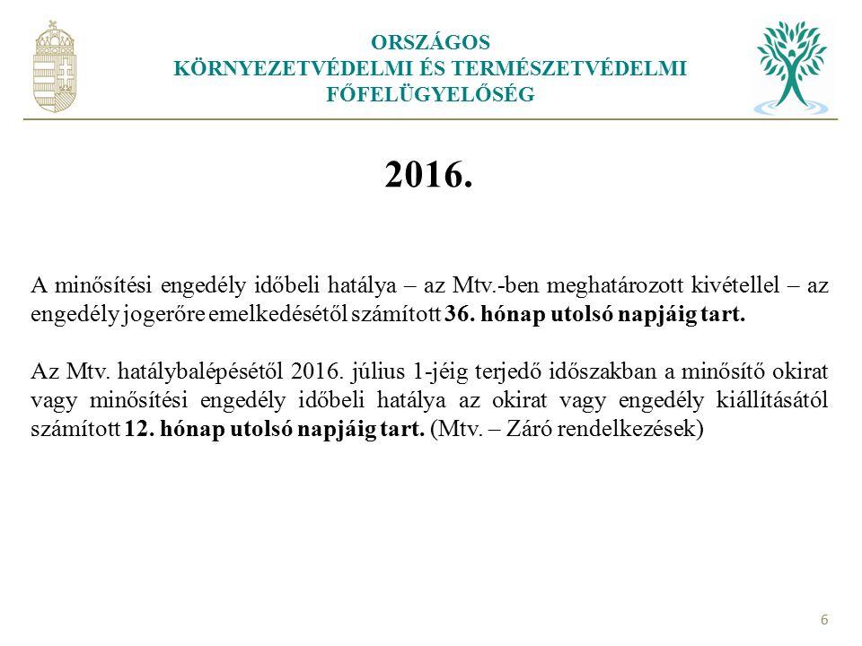 ORSZÁGOS KÖRNYEZETVÉDELMI ÉS TERMÉSZETVÉDELMI FŐFELÜGYELŐSÉG 7 A minősítési engedély hatályának meghosszabbítása 13.