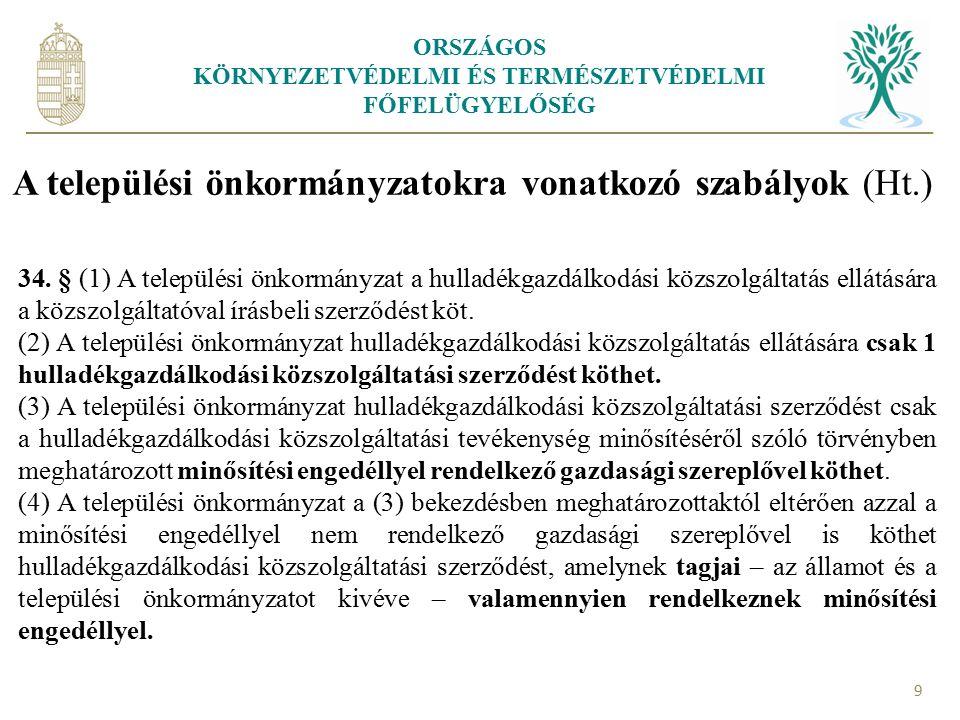 ORSZÁGOS KÖRNYEZETVÉDELMI ÉS TERMÉSZETVÉDELMI FŐFELÜGYELŐSÉG 9 A települési önkormányzatokra vonatkozó szabályok (Ht.) 34. § (1) A települési önkormán