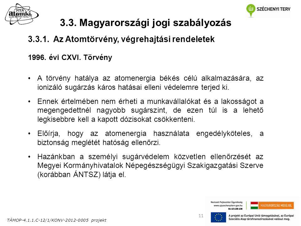 TÁMOP-4.1.1.C-12/1/KONV-2012-0005 projekt 11 3.3. Magyarországi jogi szabályozás 1996. évi CXVI. Törvény A törvény hatálya az atomenergia békés célú a