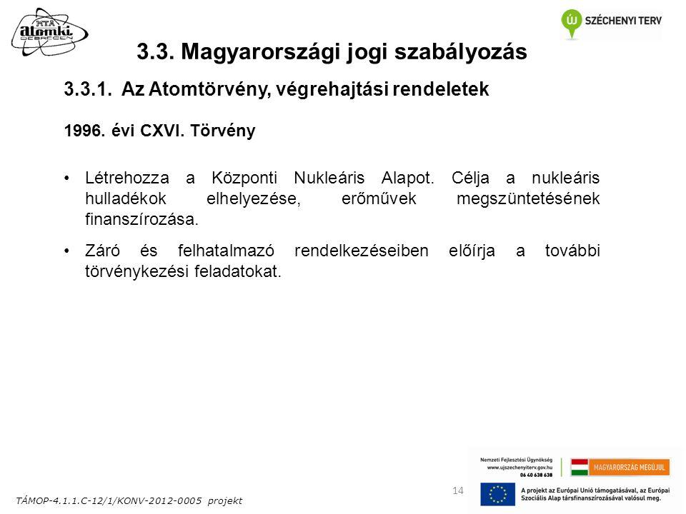 TÁMOP-4.1.1.C-12/1/KONV-2012-0005 projekt 14 3.3. Magyarországi jogi szabályozás 1996. évi CXVI. Törvény Létrehozza a Központi Nukleáris Alapot. Célja