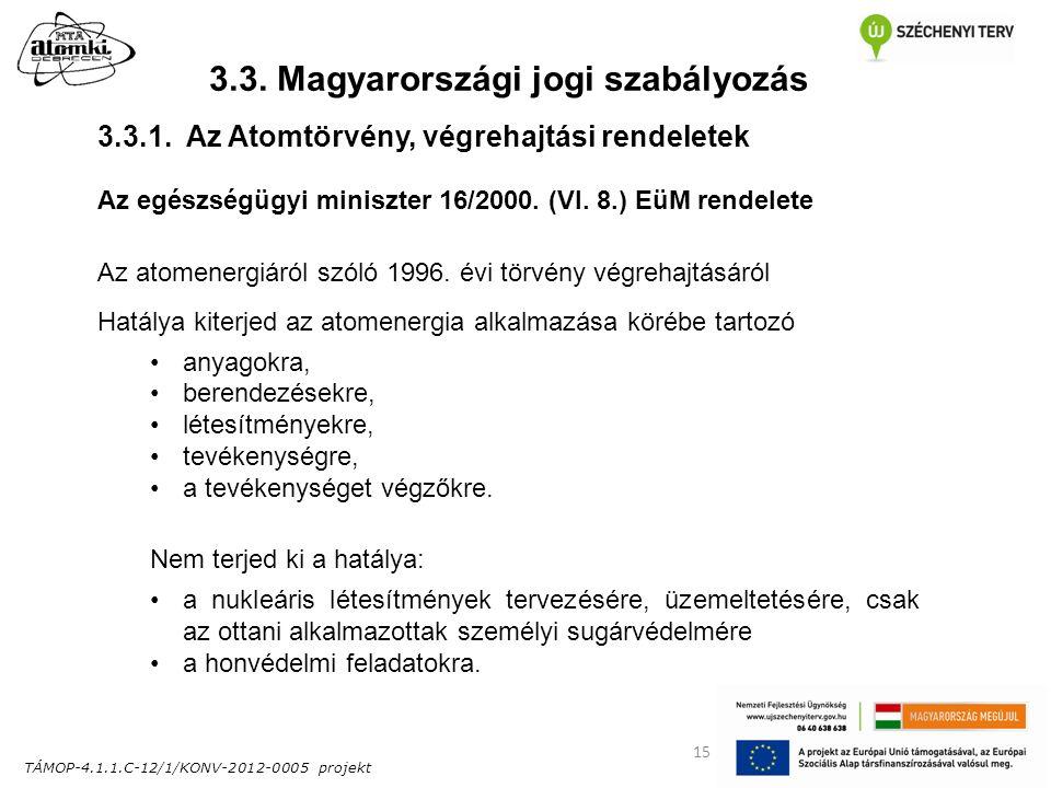 TÁMOP-4.1.1.C-12/1/KONV-2012-0005 projekt 15 3.3. Magyarországi jogi szabályozás Az egészségügyi miniszter 16/2000. (VI. 8.) EüM rendelete Az atomener
