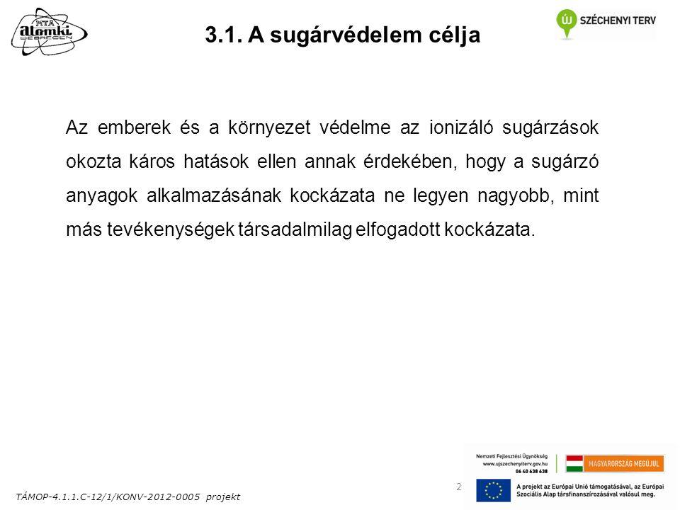 TÁMOP-4.1.1.C-12/1/KONV-2012-0005 projekt 2 3.1. A sugárvédelem célja Az emberek és a környezet védelme az ionizáló sugárzások okozta káros hatások el