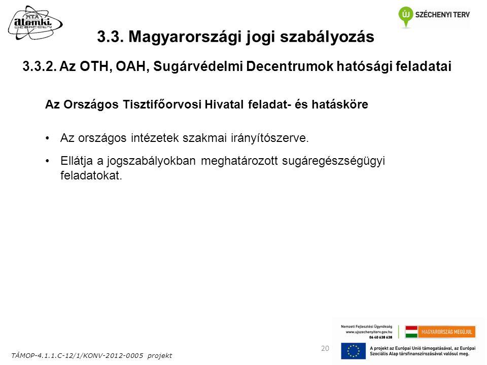 TÁMOP-4.1.1.C-12/1/KONV-2012-0005 projekt 20 3.3. Magyarországi jogi szabályozás Az Országos Tisztifőorvosi Hivatal feladat- és hatásköre Az országos
