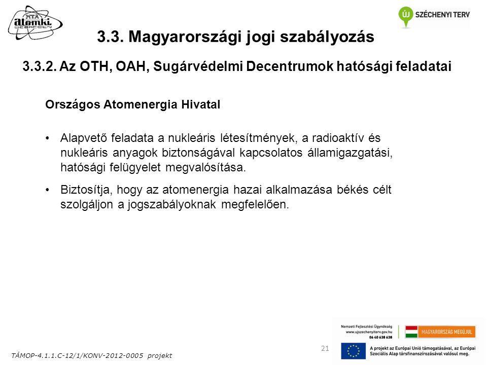 TÁMOP-4.1.1.C-12/1/KONV-2012-0005 projekt 21 3.3. Magyarországi jogi szabályozás Országos Atomenergia Hivatal Alapvető feladata a nukleáris létesítmén