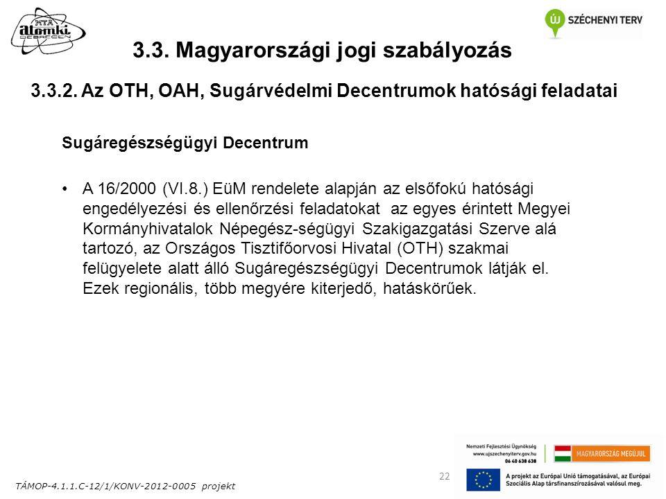 TÁMOP-4.1.1.C-12/1/KONV-2012-0005 projekt 22 3.3. Magyarországi jogi szabályozás Sugáregészségügyi Decentrum A 16/2000 (VI.8.) EüM rendelete alapján a