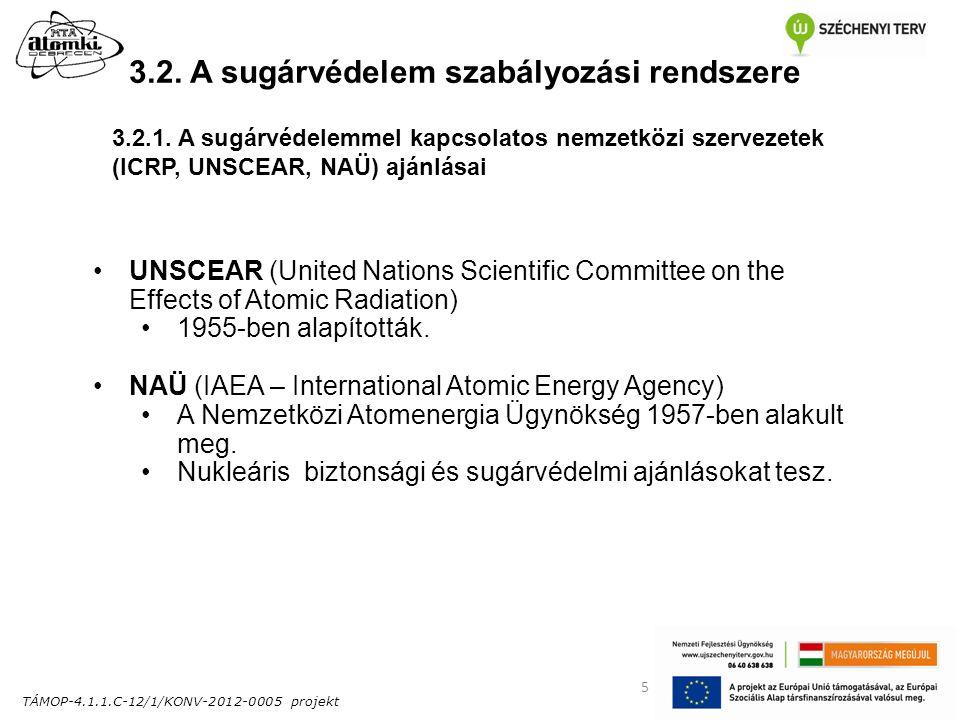 TÁMOP-4.1.1.C-12/1/KONV-2012-0005 projekt 5 3.2. A sugárvédelem szabályozási rendszere UNSCEAR (United Nations Scientific Committee on the Effects of