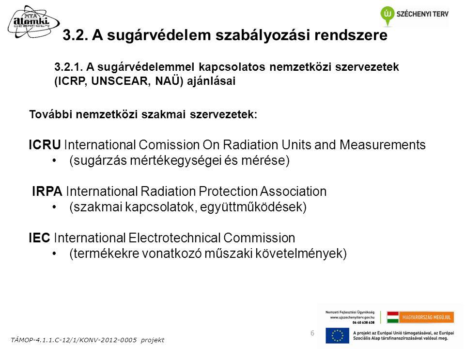 TÁMOP-4.1.1.C-12/1/KONV-2012-0005 projekt 6 3.2. A sugárvédelem szabályozási rendszere További nemzetközi szakmai szervezetek: ICRU International Comi