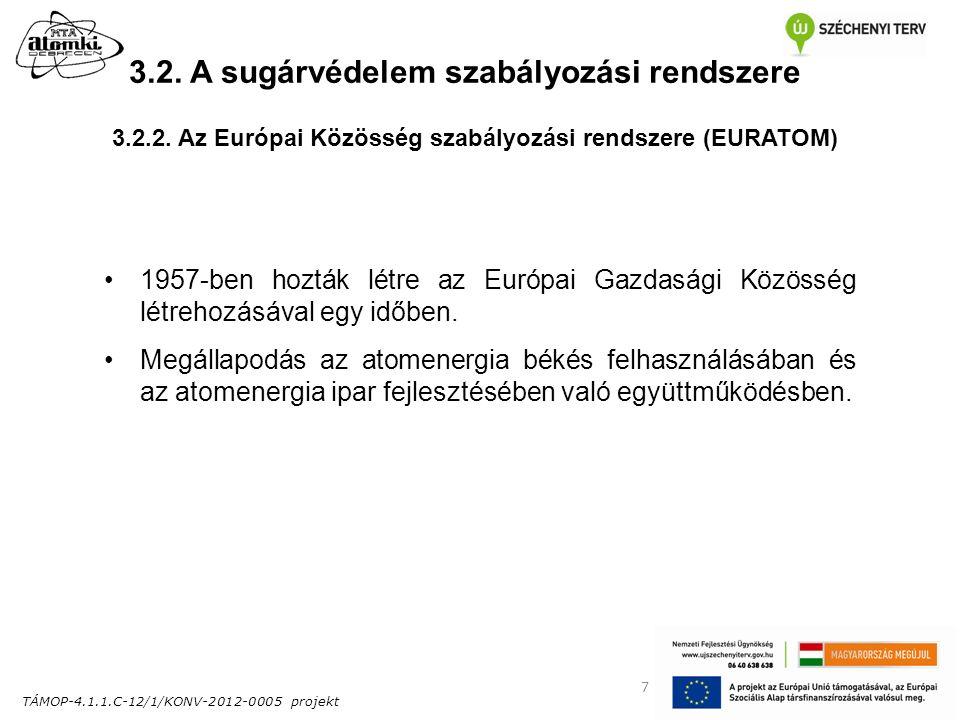 TÁMOP-4.1.1.C-12/1/KONV-2012-0005 projekt 7 3.2. A sugárvédelem szabályozási rendszere 1957-ben hozták létre az Európai Gazdasági Közösség létrehozásá