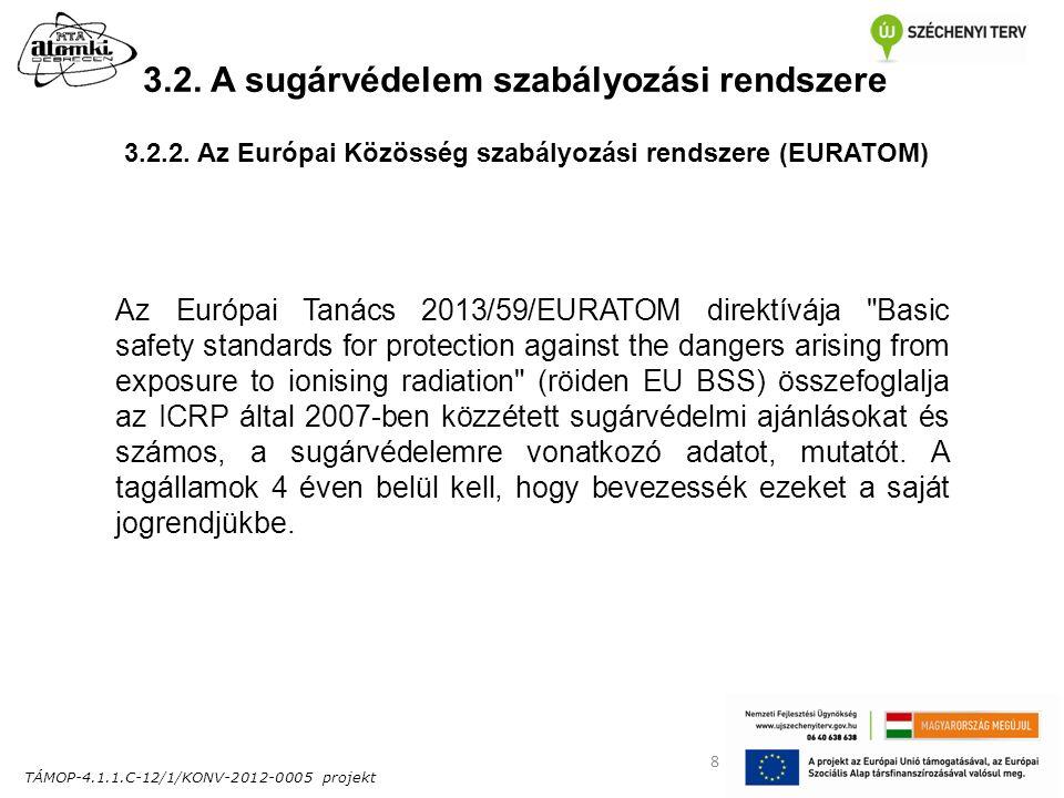 TÁMOP-4.1.1.C-12/1/KONV-2012-0005 projekt 8 3.2. A sugárvédelem szabályozási rendszere Az Európai Tanács 2013/59/EURATOM direktívája