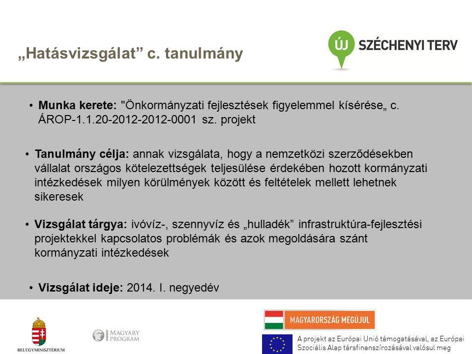 """""""Hatásvizsgálat c. tanulmány Munka kerete: Önkormányzati fejlesztések figyelemmel kísérése"""" c."""