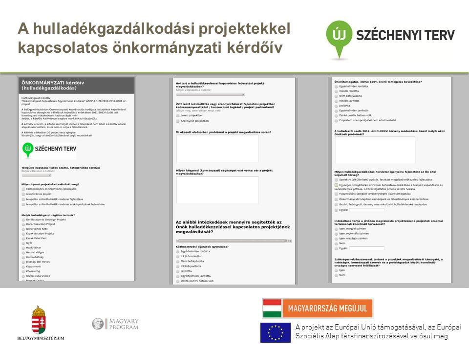 A hulladékgazdálkodási projektekkel kapcsolatos önkormányzati kérdőív