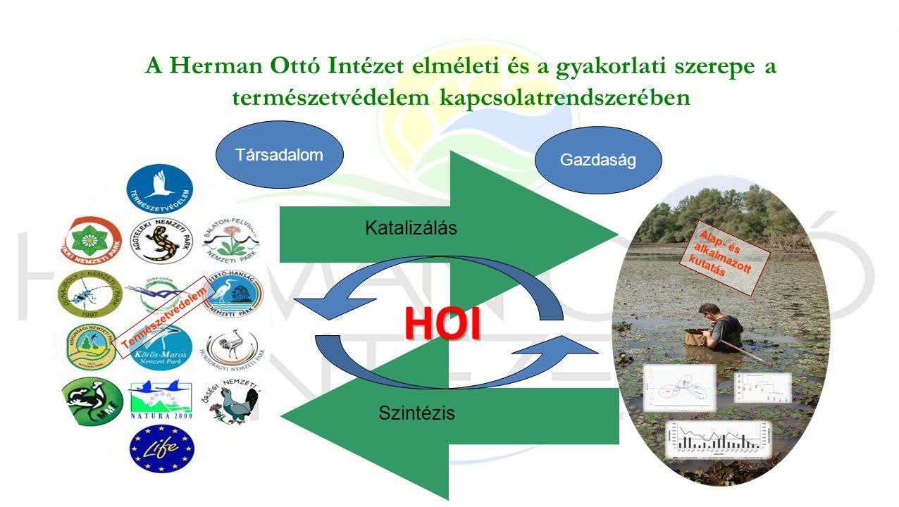 Természetvédelem Alap- és alkalmazott kutatás Katalizálás Szintézis A Herman Ottó Intézet elméleti és a gyakorlati szerepe a természetvédelem kapcsolatrendszerében HOI Társadalom Gazdaság