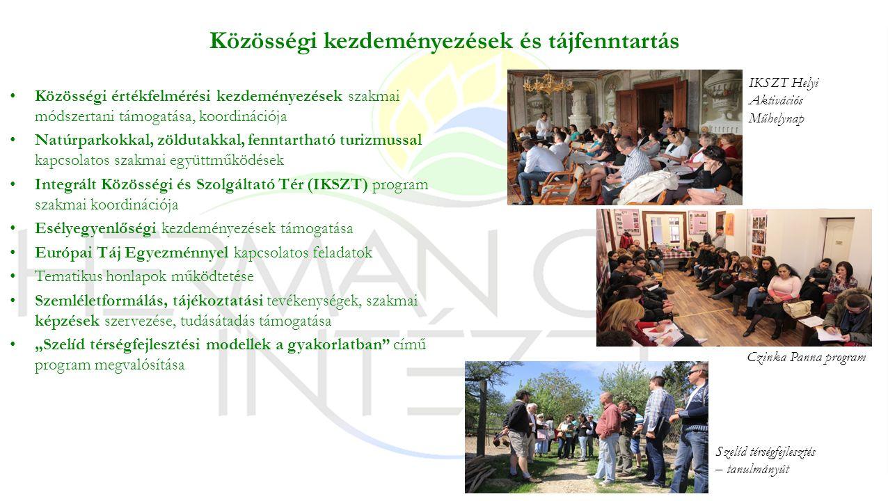 """Közösségi kezdeményezések és tájfenntartás Közösségi értékfelmérési kezdeményezések szakmai módszertani támogatása, koordinációja Natúrparkokkal, zöldutakkal, fenntartható turizmussal kapcsolatos szakmai együttműködések Integrált Közösségi és Szolgáltató Tér (IKSZT) program szakmai koordinációja Esélyegyenlőségi kezdeményezések támogatása Európai Táj Egyezménnyel kapcsolatos feladatok Tematikus honlapok működtetése Szemléletformálás, tájékoztatási tevékenységek, szakmai képzések szervezése, tudásátadás támogatása """"Szelíd térségfejlesztési modellek a gyakorlatban című program megvalósítása Czinka Panna program IKSZT Helyi Aktivációs Műhelynap Szelíd térségfejlesztés – tanulmányút"""