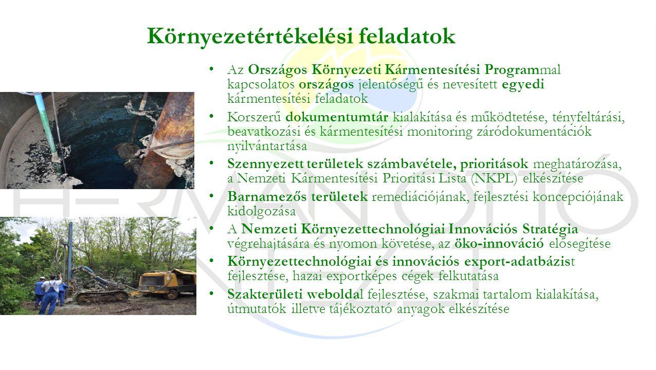 Környezetértékelési feladatok Az Országos Környezeti Kármentesítési Programmal kapcsolatos országos jelentőségű és nevesített egyedi kármentesítési feladatok Korszerű dokumentumtár kialakítása és működtetése, tényfeltárási, beavatkozási és kármentesítési monitoring záródokumentációk nyilvántartása Szennyezett területek számbavétele, prioritások meghatározása, a Nemzeti Kármentesítési Prioritási Lista (NKPL) elkészítése Barnamezős területek remediációjának, fejlesztési koncepciójának kidolgozása A Nemzeti Környezettechnológiai Innovációs Stratégia végrehajtására és nyomon követése, az öko-innováció elősegítése Környezettechnológiai és innovációs export-adatbázist fejlesztése, hazai exportképes cégek felkutatása Szakterületi weboldal fejlesztése, szakmai tartalom kialakítása, útmutatók illetve tájékoztató anyagok elkészítése