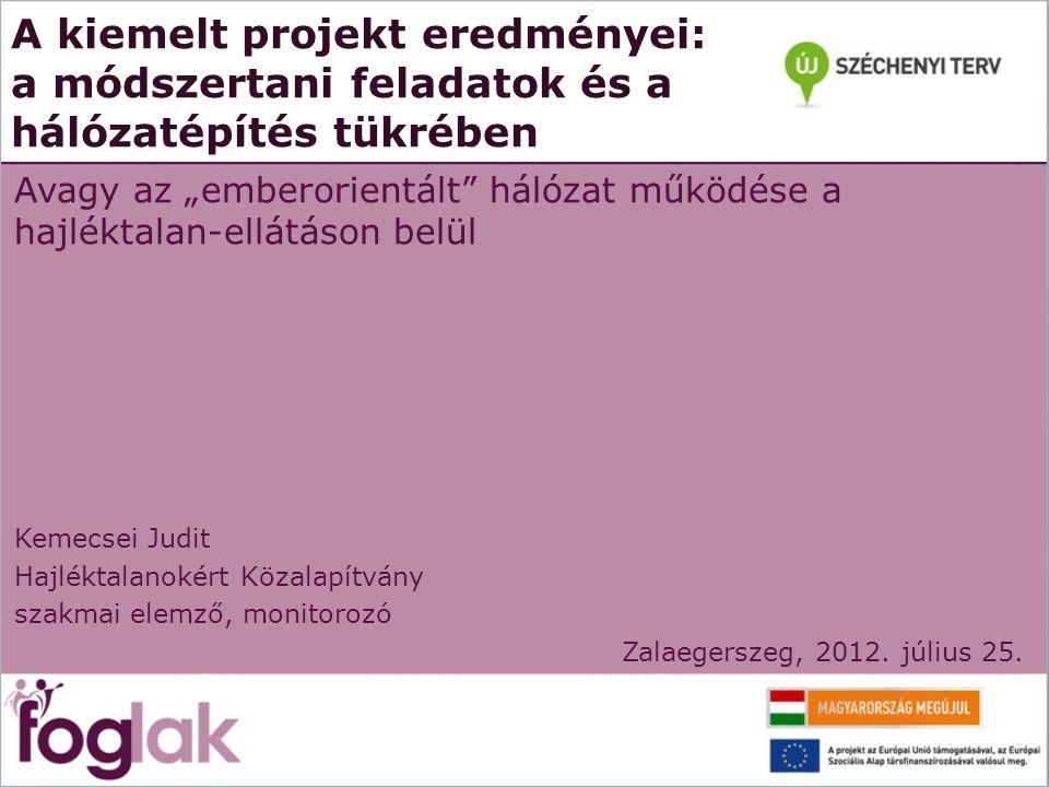 """A kiemelt projekt eredményei: a módszertani feladatok és a hálózatépítés tükrében Avagy az """"emberorientált"""" hálózat működése a hajléktalan-ellátáson b"""