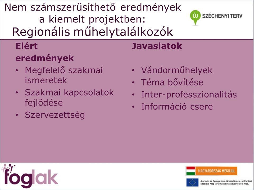 Nem számszerűsíthető eredmények a kiemelt projektben: Regionális műhelytalálkozók Elért eredmények Megfelelő szakmai ismeretek Szakmai kapcsolatok fej