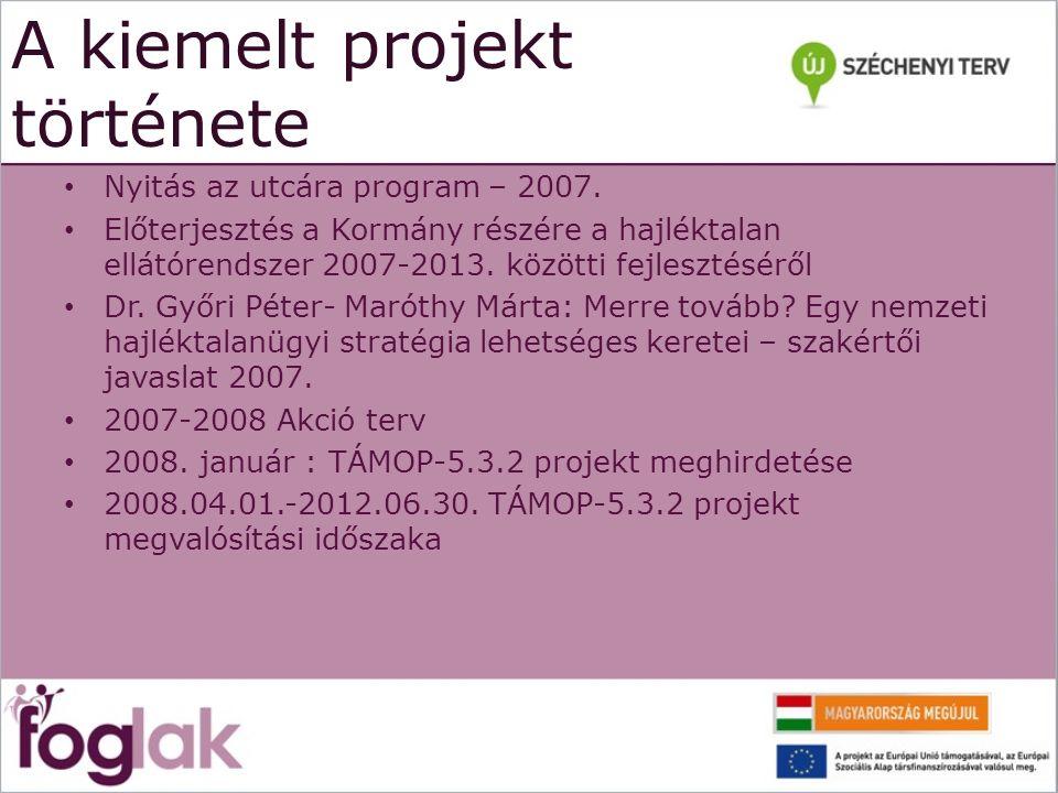 A kiemelt projekt története Nyitás az utcára program – 2007. Előterjesztés a Kormány részére a hajléktalan ellátórendszer 2007-2013. közötti fejleszté