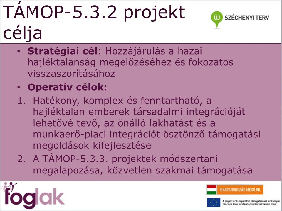TÁMOP-5.3.2 projekt célja Stratégiai cél: Hozzájárulás a hazai hajléktalanság megelőzéséhez és fokozatos visszaszorításához Operatív célok: 1.Hatékony, komplex és fenntartható, a hajléktalan emberek társadalmi integrációját lehetővé tevő, az önálló lakhatást és a munkaerő-piaci integrációt ösztönző támogatási megoldások kifejlesztése 2.A TÁMOP-5.3.3.