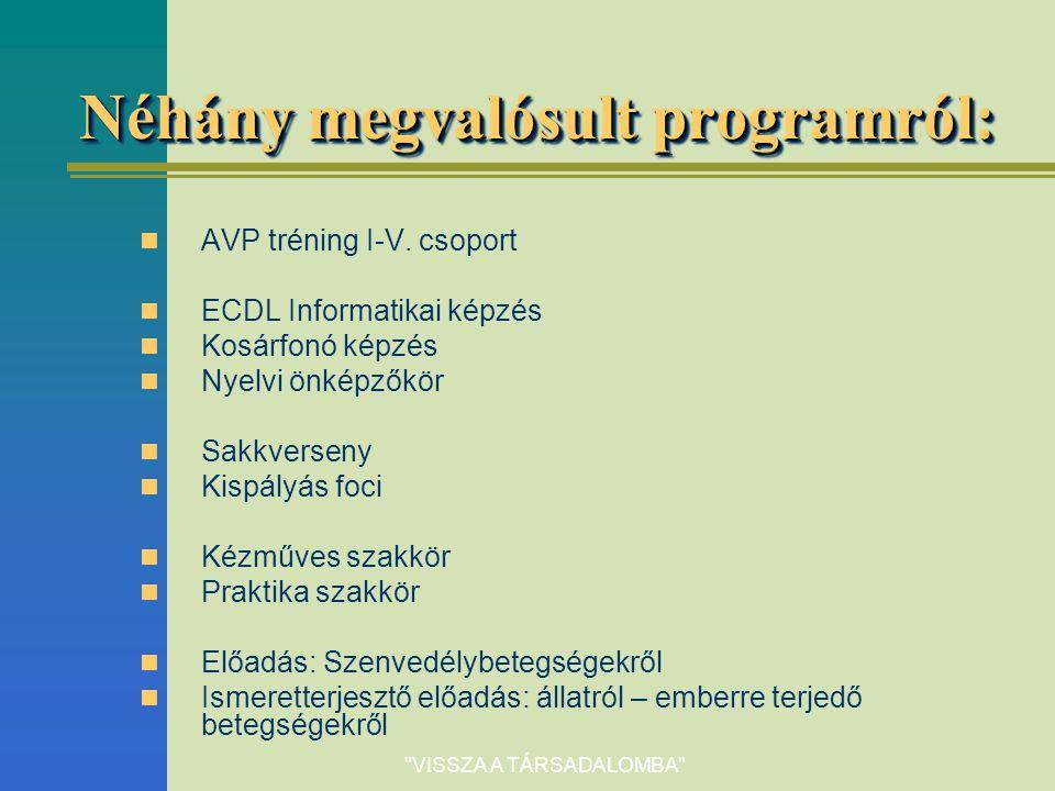 VISSZA A TÁRSADALOMBA Néhány megvalósult programról: AVP tréning I-V.