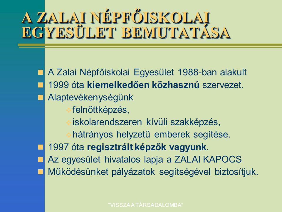 VISSZA A TÁRSADALOMBA A ZALAI NÉPFŐISKOLAI EGYESÜLET BEMUTATÁSA A Zalai Népfőiskolai Egyesület 1988-ban alakult 1999 óta kiemelkedően közhasznú szervezet.