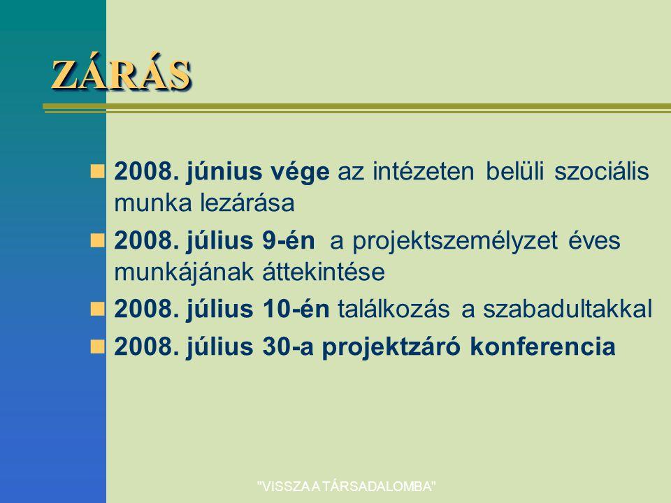 VISSZA A TÁRSADALOMBA ZÁRÁSZÁRÁS 2008.