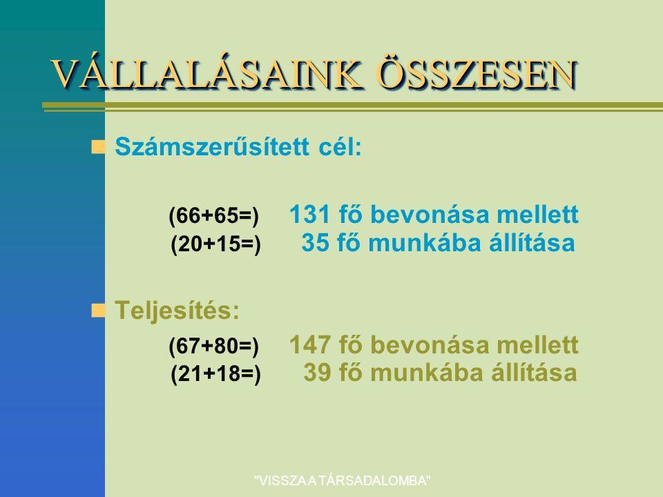 VISSZA A TÁRSADALOMBA VÁLLALÁSAINK ÖSSZESEN Számszerűsített cél: (66+65=) 131 fő bevonása mellett (20+15=) 35 fő munkába állítása Teljesítés: (67+80=) 147 fő bevonása mellett (21+18=) 39 fő munkába állítása
