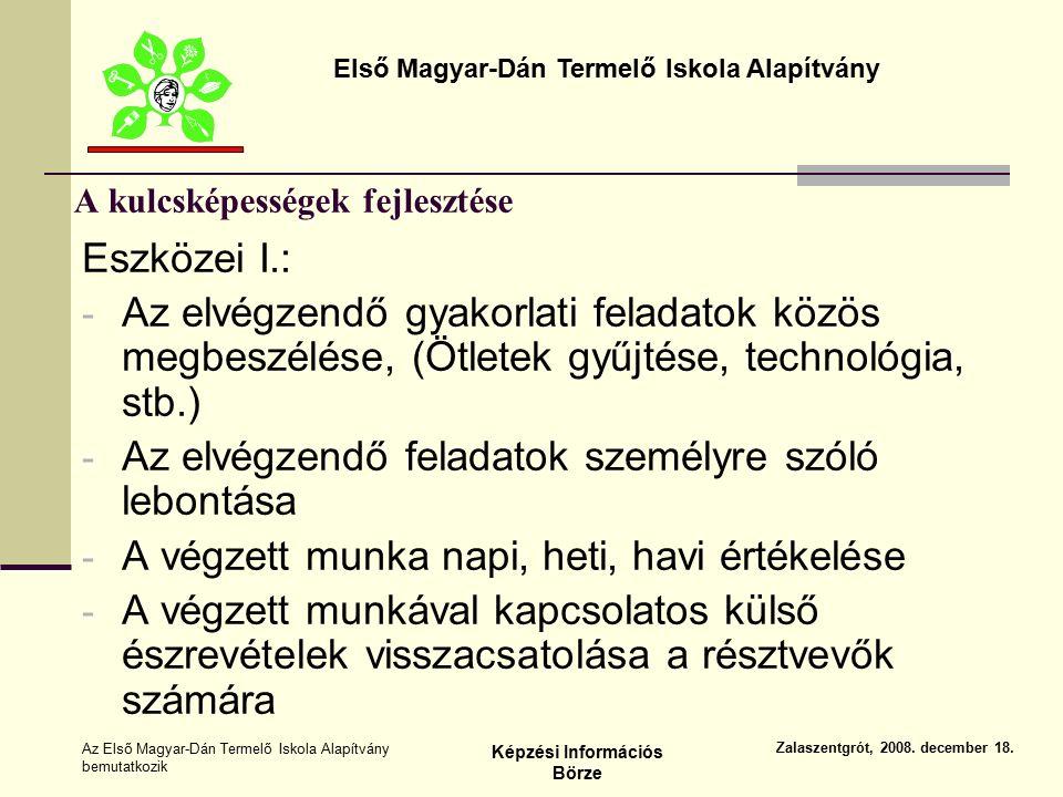 Első Magyar-Dán Termelő Iskola Alapítvány Zalaszentgrót, 2008.