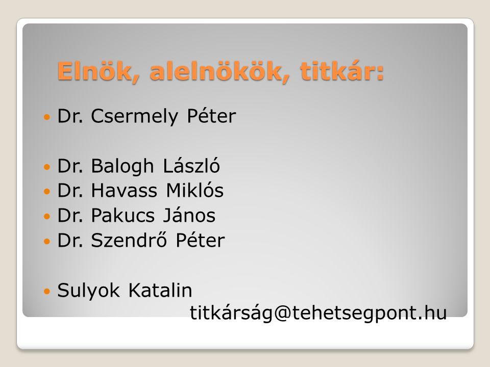 Elnök, alelnökök, titkár: Dr. Csermely Péter Dr. Balogh László Dr.