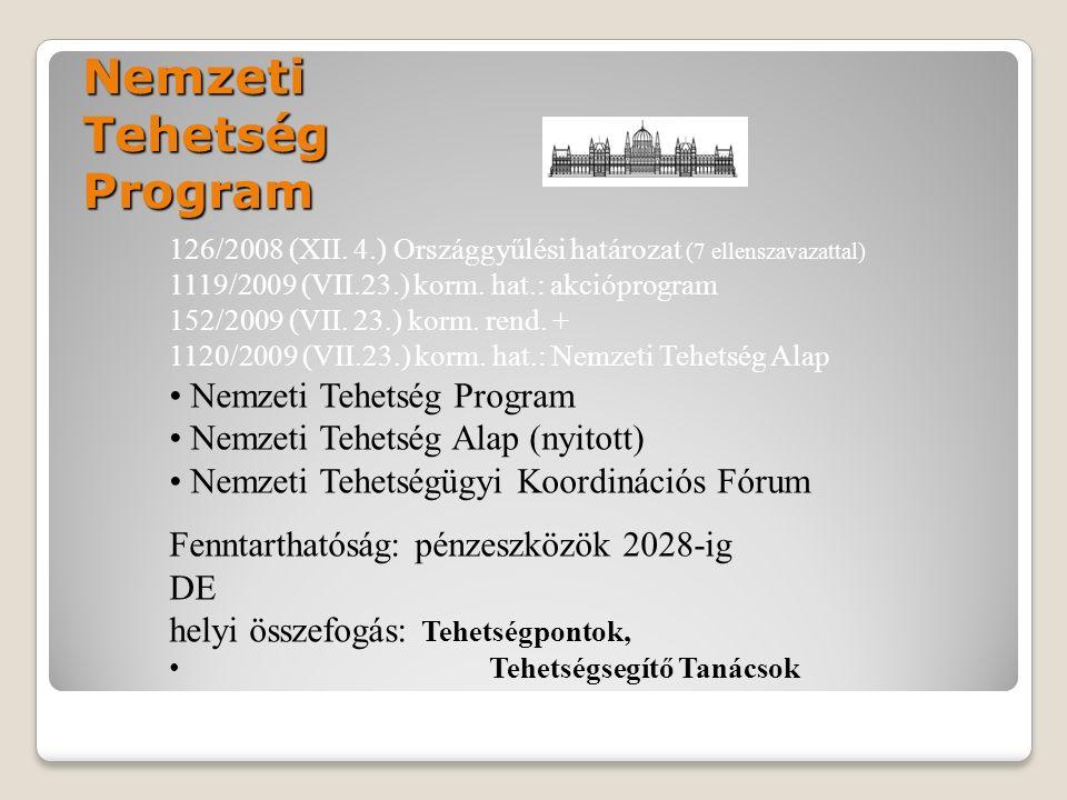 Nemzeti Tehetség Program 126/2008 (XII. 4.) Országgyűlési határozat (7 ellenszavazattal) 1119/2009 (VII.23.) korm. hat.: akcióprogram 152/2009 (VII. 2