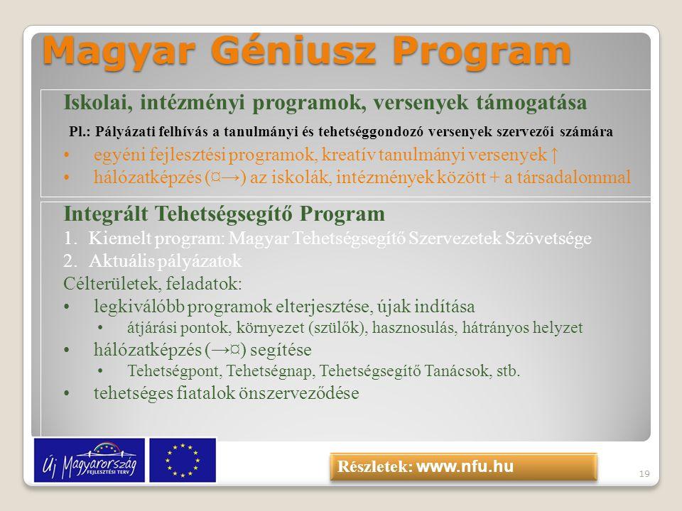 19 Magyar Géniusz Program Iskolai, intézményi programok, versenyek támogatása Pl.: Pályázati felhívás a tanulmányi és tehetséggondozó versenyek szerve