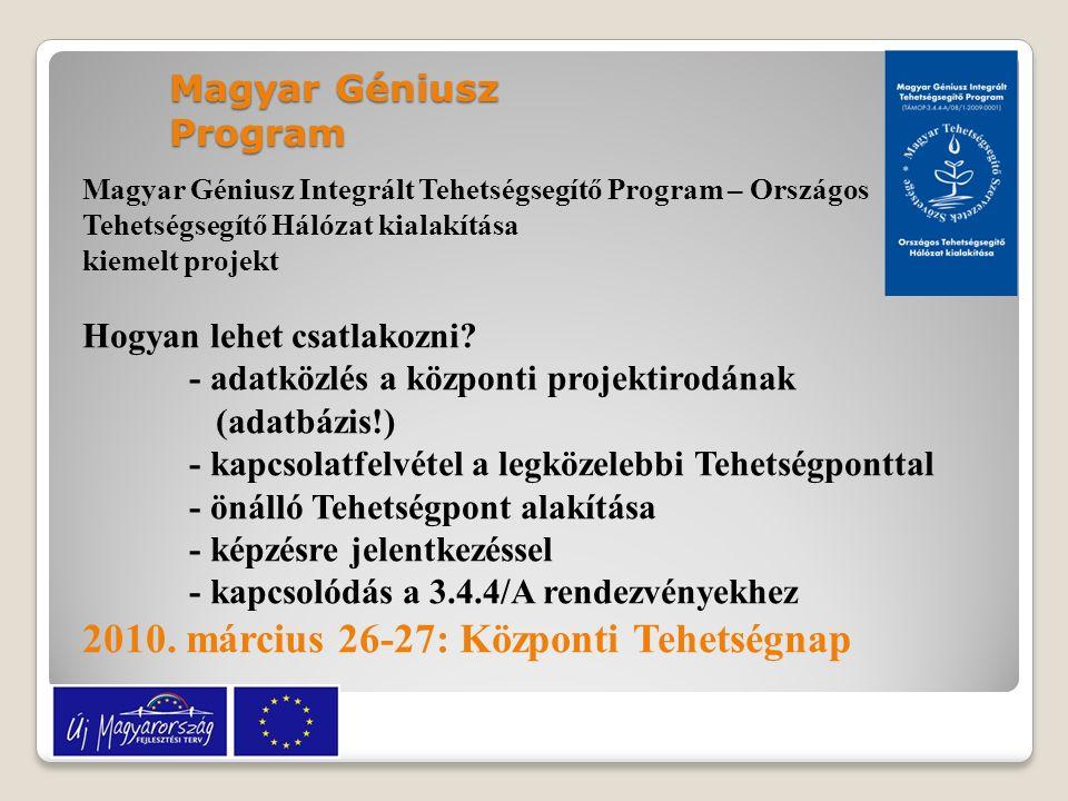 Magyar Géniusz Integrált Tehetségsegítő Program – Országos Tehetségsegítő Hálózat kialakítása kiemelt projekt Hogyan lehet csatlakozni? - adatközlés a