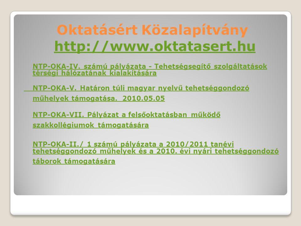 NTP-OKA-IV. számú pályázata - Tehetségsegítő szolgáltatások térségi hálózatának kialakítására NTP-OKA-V. Határon túli magyar nyelvű tehetséggondozó mű