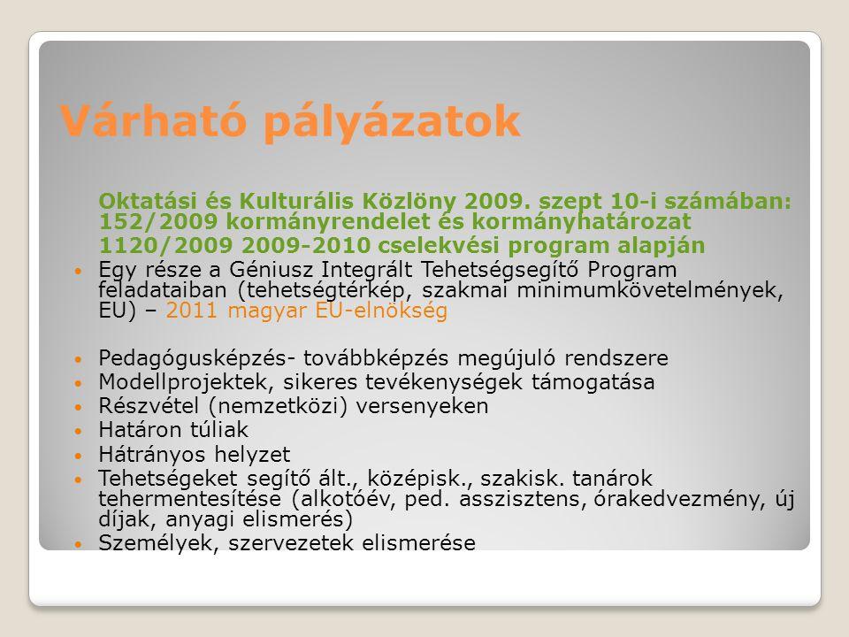 Várható pályázatok Oktatási és Kulturális Közlöny 2009. szept 10-i számában: 152/2009 kormányrendelet és kormányhatározat 1120/2009 2009-2010 cselekvé