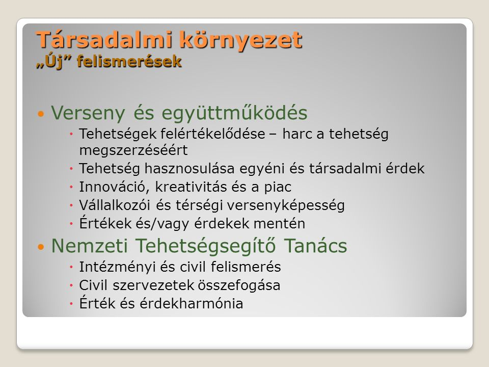 Nemzeti Tehetség Program kidolgozása 2006-2008 A program lényege: A tehetségek segítése nemzeti ügy: a magyar gazdaság fejlődésében kitörési pont lehet nem állhat meg a határoknál az EU számára értékes Elvek: értékőrzés, sokszínűség, esélyteremtés, folyamatosság, átjárhatóság, fokozott felelősség, fenntarthatóság, társadalmi támogatottság.