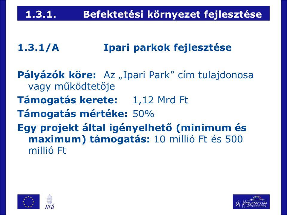 """1.3.1.Befektetési környezet fejlesztése 1.3.1/AIpari parkok fejlesztése Pályázók köre:Az """"Ipari Park cím tulajdonosa vagy működtetője Támogatás kerete:1,12 Mrd Ft Támogatás mértéke:50% Egy projekt által igényelhető (minimum és maximum) támogatás: 10 millió Ft és 500 millió Ft"""