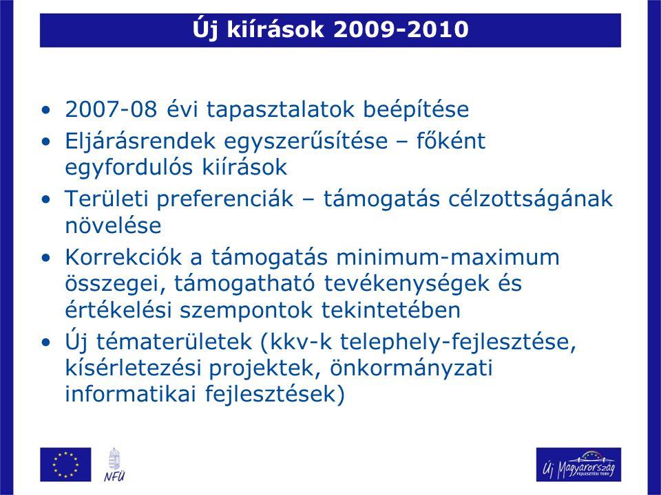 Új kiírások 2009-2010 2007-08 évi tapasztalatok beépítése Eljárásrendek egyszerűsítése – főként egyfordulós kiírások Területi preferenciák – támogatás célzottságának növelése Korrekciók a támogatás minimum-maximum összegei, támogatható tevékenységek és értékelési szempontok tekintetében Új tématerületek (kkv-k telephely-fejlesztése, kísérletezési projektek, önkormányzati informatikai fejlesztések)